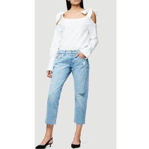 Frame Denim White Bow Shoulder Blouse NWT